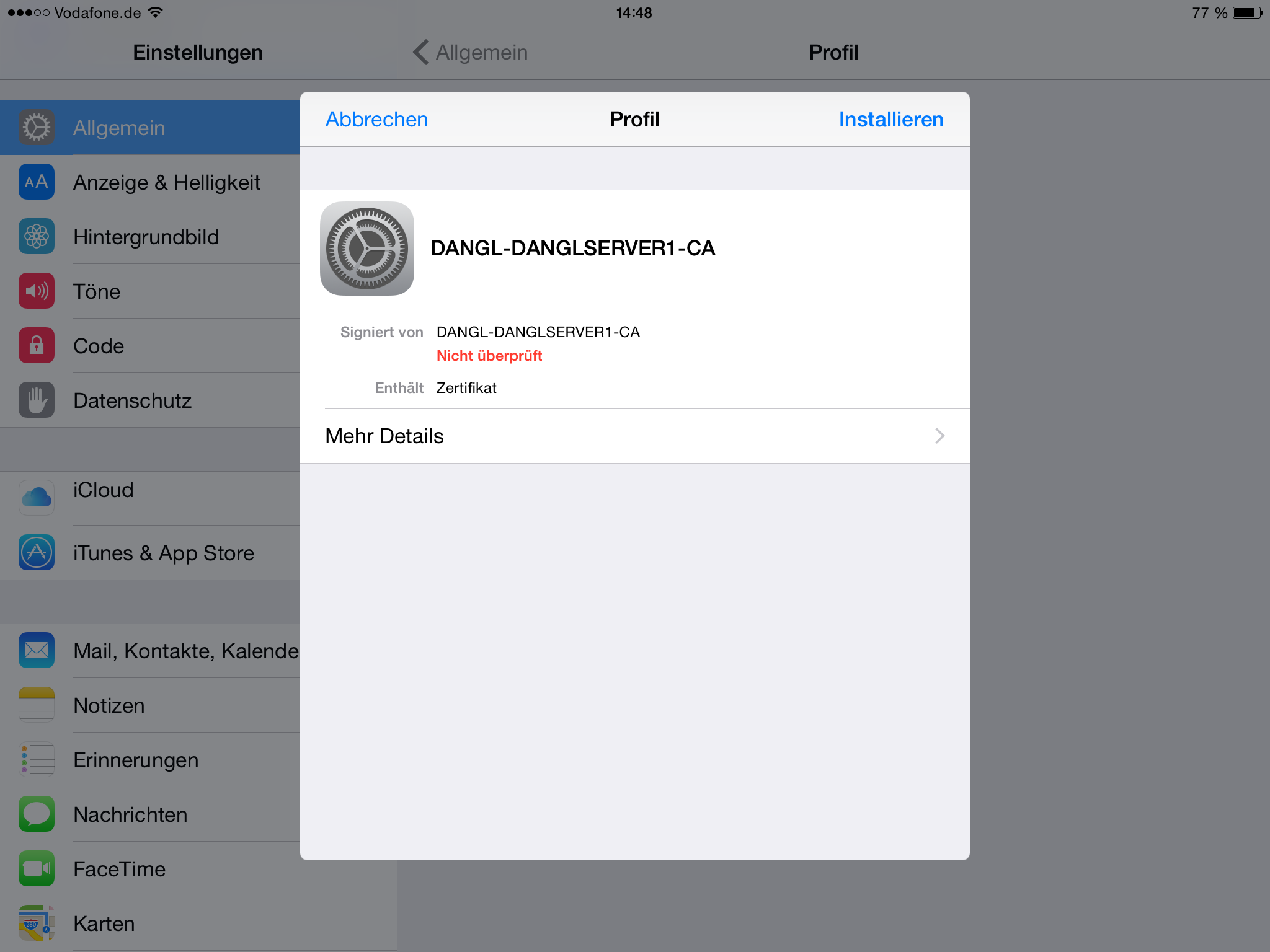 Install a certificate in iOS
