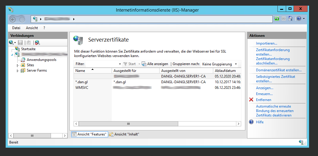 IIS Installed Server Certificates