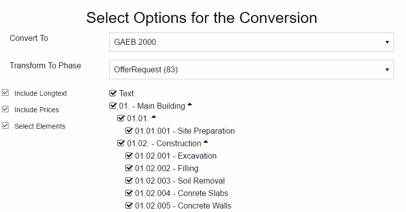 Selecting Options For The GAEB Converter Conversion Process
