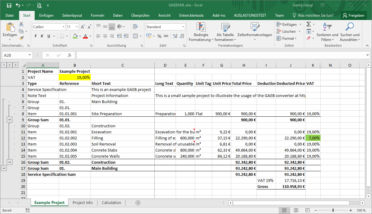 GAEB To Excel Converter Tax Rate Input