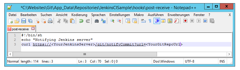 Git Post Receive Hook in Notepad++