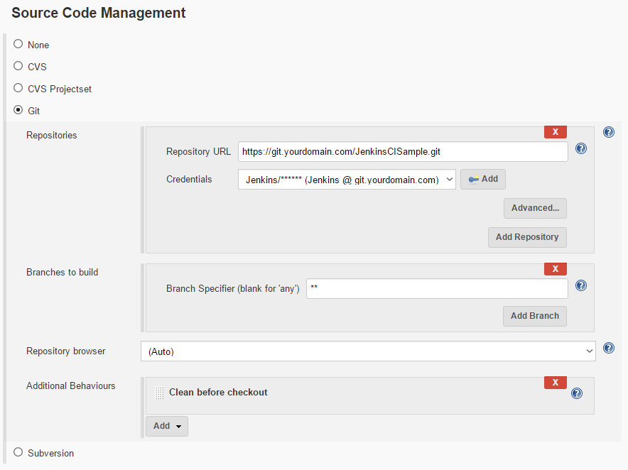 Jenkins Git Repository Source Code Management