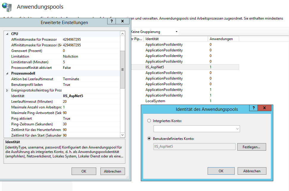IIS Apppool User Account Configuration