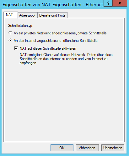 Windows Server - Enable NAT on Network Interface