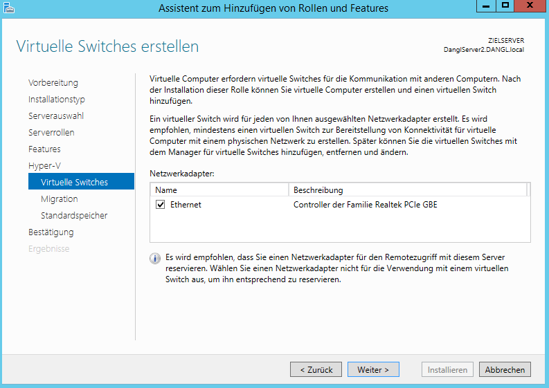 Hyper-V Virtual Switch Configuration